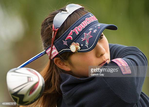 Natsuka Hori of Japan tees off during day one of the Swining Skirts World Ladies Masters at Miramar Golf Country Club on December 6 2013 in Taipei...