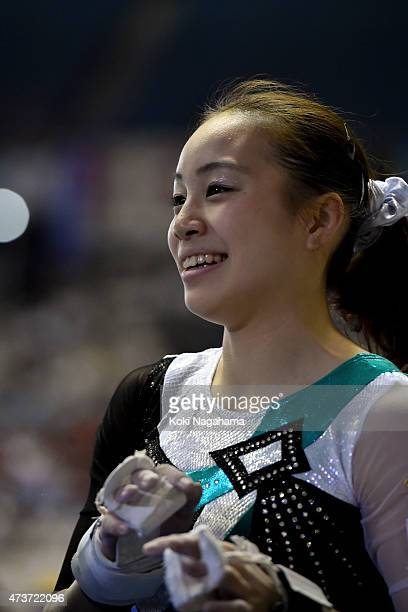 Natsuki Sasada looks on after competing on the Uneven Bars during the Artistic Gymnastics NHK Trophy at Yoyogi National Gymnasium on May 17 2015 in...