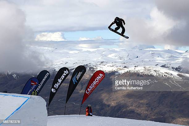 Natsuki Sato of Japan competes in the Snowboard AFP Freeski Big Air Finals during the Winter Games NZ at Cardrona Alpine Resort on August 30 2015 in...
