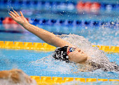 Natsumi Sakai competes in the Women's 100m Backstroke final during day four of the Japan Swim 2016 at Tokyo Tatsumi International Swimming Center on...