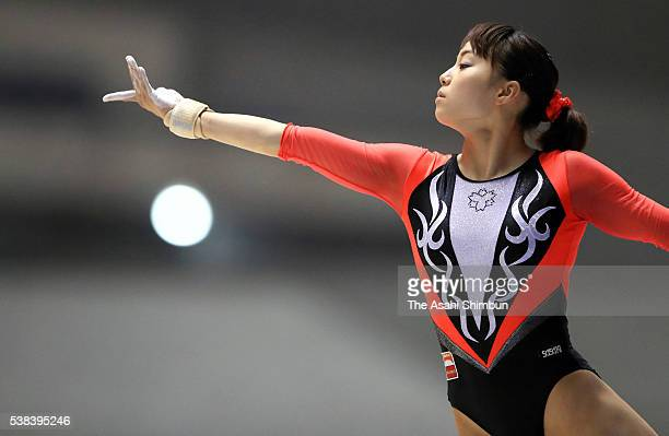 Natsumi Sasada competes in the Floor during day one of the AllJapan Gymnastic Appratus Championships at Yoyogi National Gymnasium on June 4 2016 in...