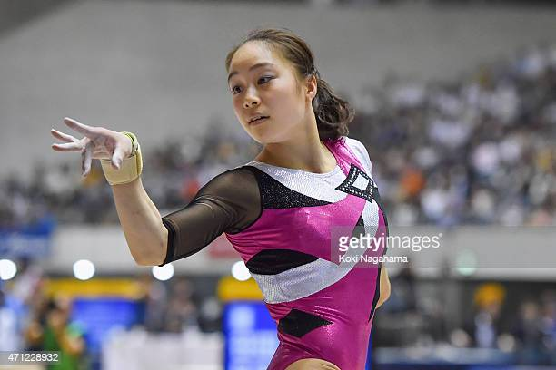 Natsumi Sasada competes in the Floor Exercise during day three of the All Japan Artistic Gymnastics Individual All Around Championships at Yoyogi...