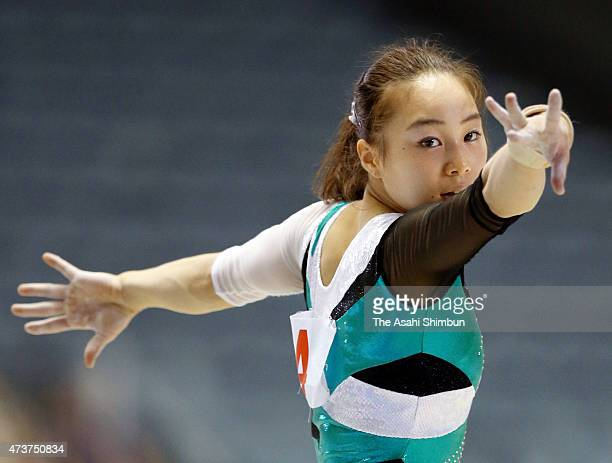 Natsumi Sasada competes in the floor of the Women's All Around during the NHK Trophy Artistic Gymnastics Championship at National Yoyogi Gymnasium on...