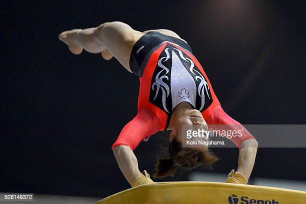 Natsumi Sasada competes in the Horse Vault during the Artistic Gymnastics NHK Trophy at Yoyogi National Gymnasium on May 4 2016 in Tokyo Japan