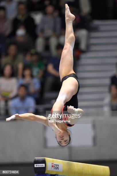 Natsumi Sasada competes on the balance beam during Japan National Gymnastics Apparatus Championships at the Takasaki Arena on June 25 2017 in...
