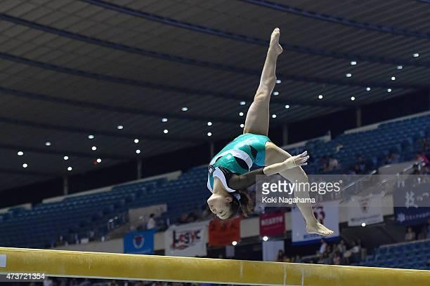 Natsumi Sasada competes on the Balance Beam during the Artistic Gymnastics NHK Trophy at Yoyogi National Gymnasium on May 17 2015 in Tokyo Japan