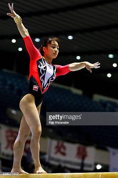 Natsumi Sasada competes on the beam during the AllJapan Gymnastic Appratus Championshipsat Yoyogi National Gymnasium on June 4 2016 in Tokyo Japan