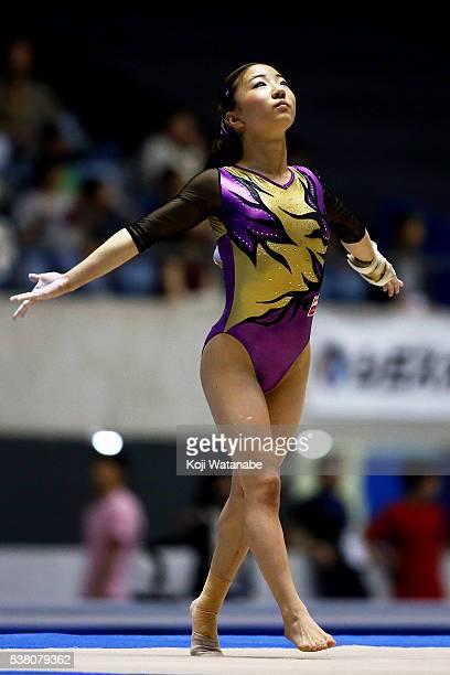 Natsumi Sasada competes on the floor during the AllJapan Gymnastic Appratus Championshipsat Yoyogi National Gymnasium on June 4 2016 in Tokyo Japan