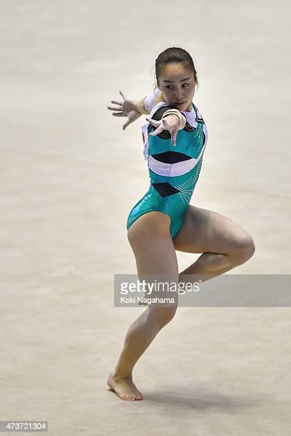 Natsumi Sasada competes on the Floor during the Artistic Gymnastics NHK Trophy at Yoyogi National Gymnasium on May 17 2015 in Tokyo Japan