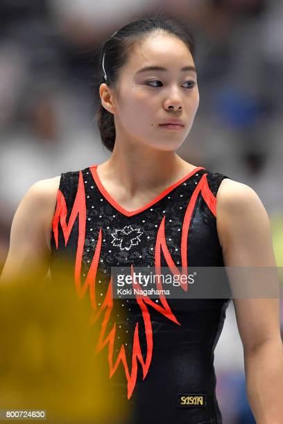 Natsumi Sasada looks on prior to competing on the balance beam during Japan National Gymnastics Apparatus Championships at the Takasaki Arena on June...