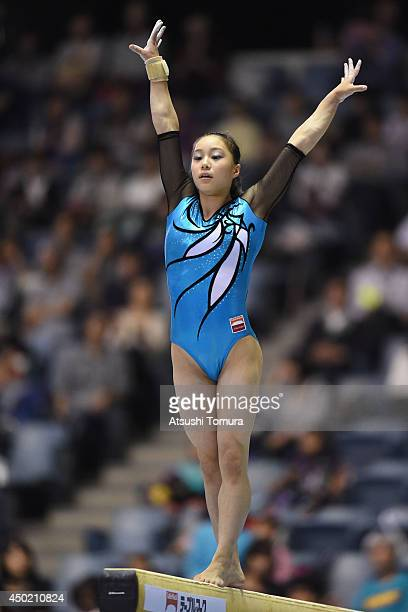 Natsumi Sasada of Japan competes in the Balance Beam during day one of the Artistic Gymnastics NHK Trophy at Yoyogi National Gymnasium on June 7 2014...