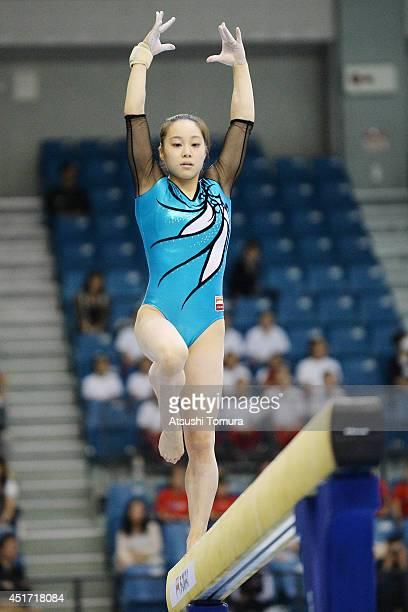 Natsumi Sasada of Japan competes in the Balance Beam during the 68th All Japan Gymnastics Apparatus Championships on July 5 2014 in Chiba Japan