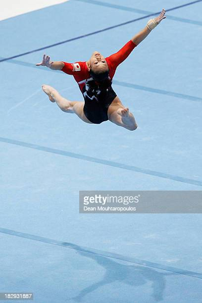 Natsumi Sasada of Japan competes in the Womens Floor Event Qualification on Day Three of the Artistic Gymnastics World Championships Belgium 2013...