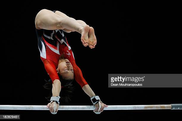 Natsumi Sasada of Japan competes in the Womens Uneven Bars Qualification on Day Three of the Artistic Gymnastics World Championships Belgium 2013...