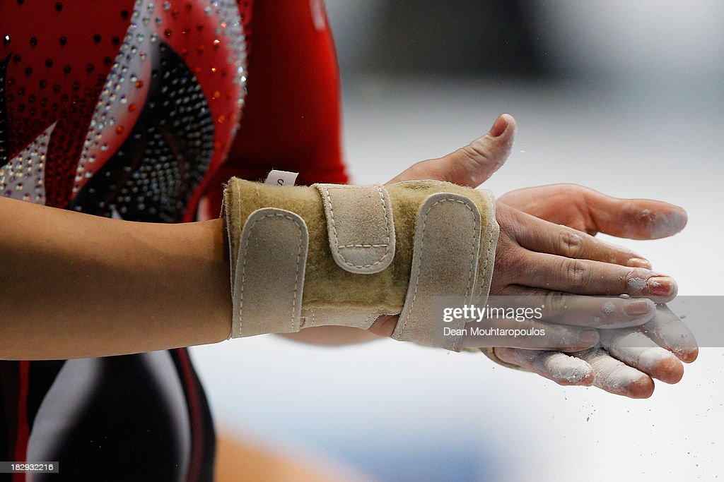 Natsumi Sasada of Japan gets ready to compete in the Womens Floor Event Qualification on Day Three of the Artistic Gymnastics World Championships...