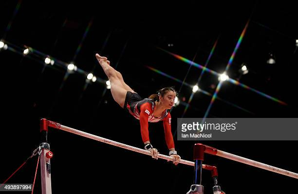 Natsumi Sasada of Japan goes through her routine on the Uneven Bars during Day One of the 2015 World Artistic Gymnastics Championships at The SSE...