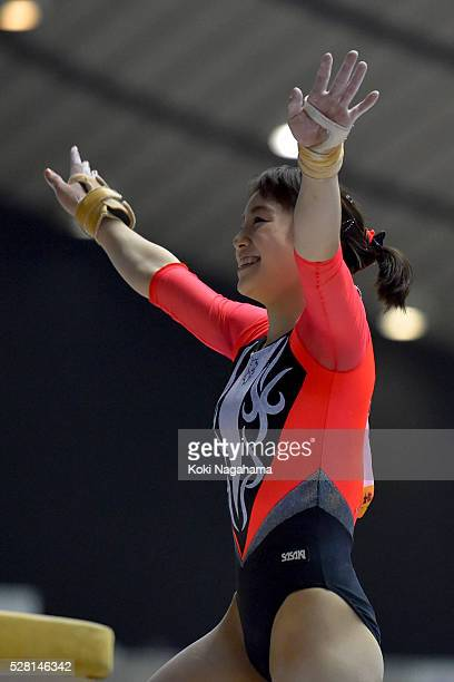 Natsumi Sasada waves to the fans in the Horse Vault during the Artistic Gymnastics NHK Trophy at Yoyogi National Gymnasium on May 4 2016 in Tokyo...