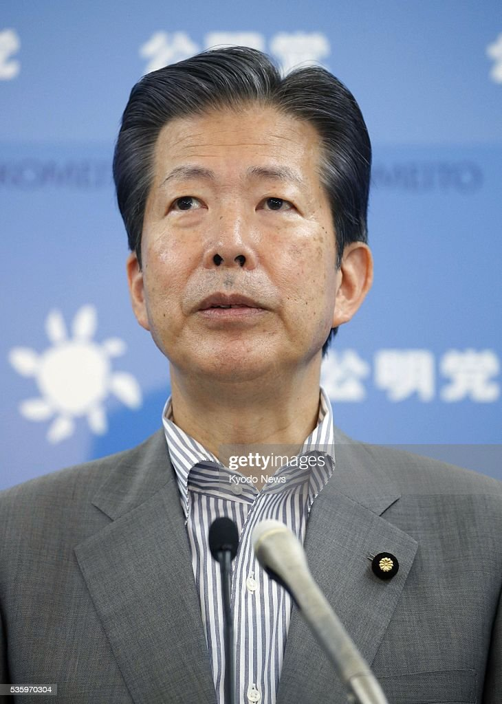 Natsuo Yamaguchi, leader of the minor ruling party Komeito, attends a press conference in Tokyo on May 31, 2016. On the move by four opposition parties to jointly submit a motion of no confidence against Prime Minister Shinzo Abe's Cabinet, Yamaguchi said he will work for voting it down together with coalition partner the Liberal Democratic Party.