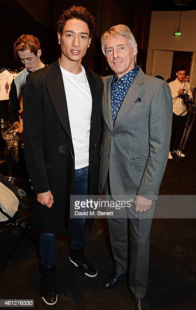 Natt Weller and Paul Weller attend the front row at the Oliver Spencer show during London Collections Men AW15 at The Old Sorting Office on January...