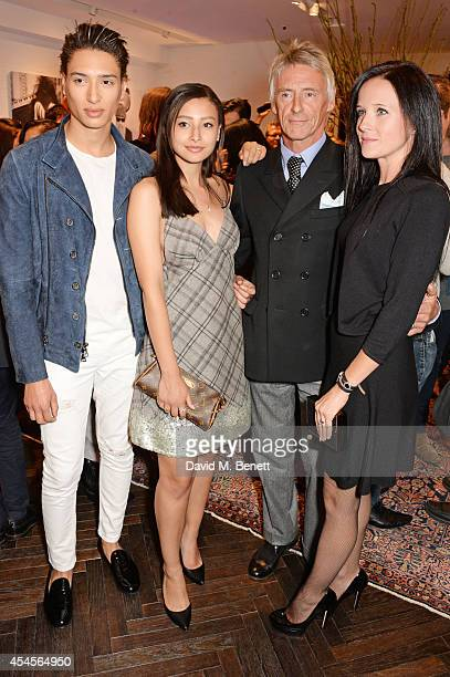 Natt Weller Leah Weller Paul Weller and Hannah Andrews attend as John Varvatos launch their first European store in London on September 3 2014 in...