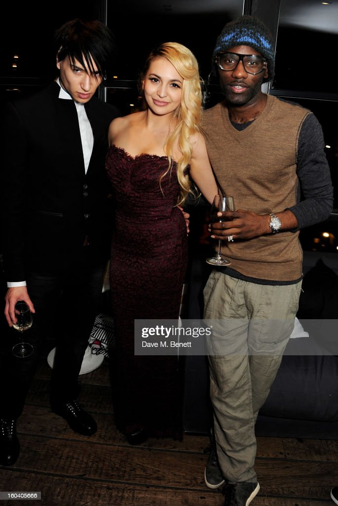 Natt Weller, Zara Martin and Wretch 32 attend the InStyle Best Of British Talent party in association with Lancome and Avenue 32 at Shoreditch House on January 30, 2013 in London, England.