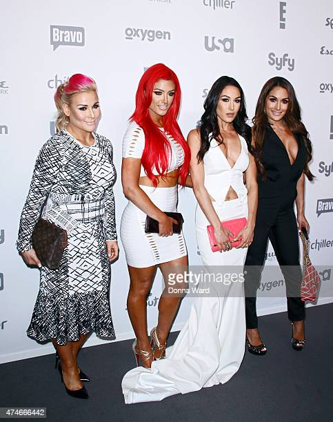 Nattie Eva Marie Brie Bell and Nikki Bella appear during the 2015 NBCUniversal Cable Entertainment Upfront at The Jacob K Javits Convention Center on...