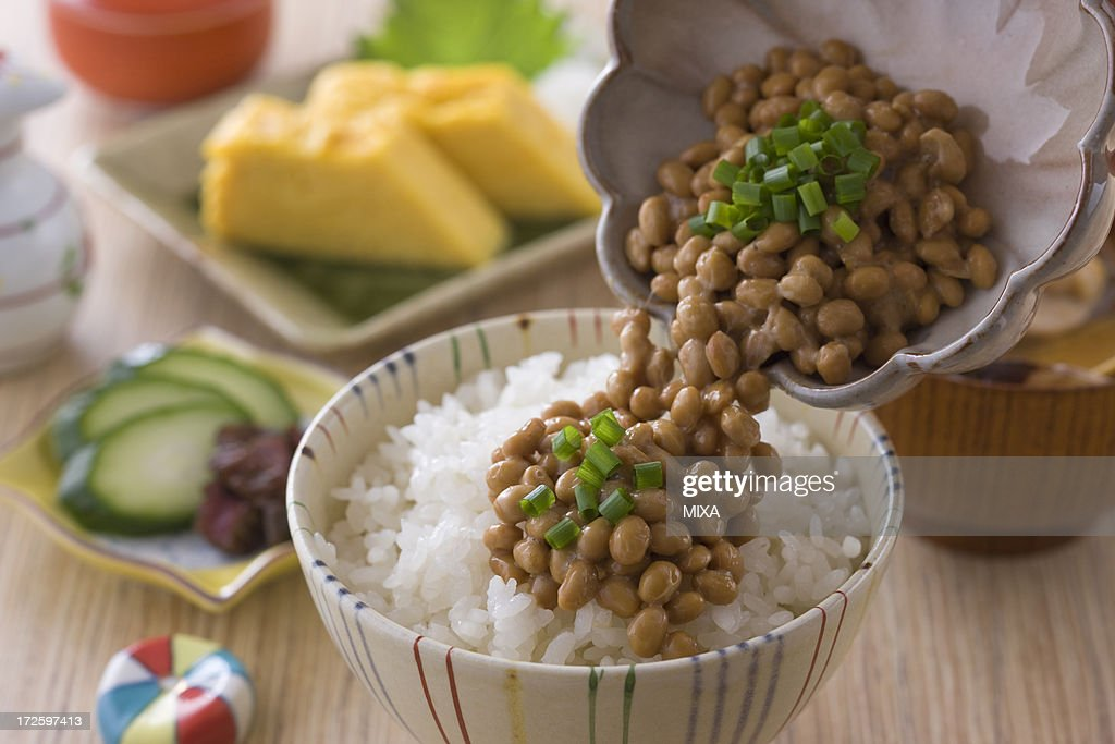 Natto on Steamed Rice : Stock Photo