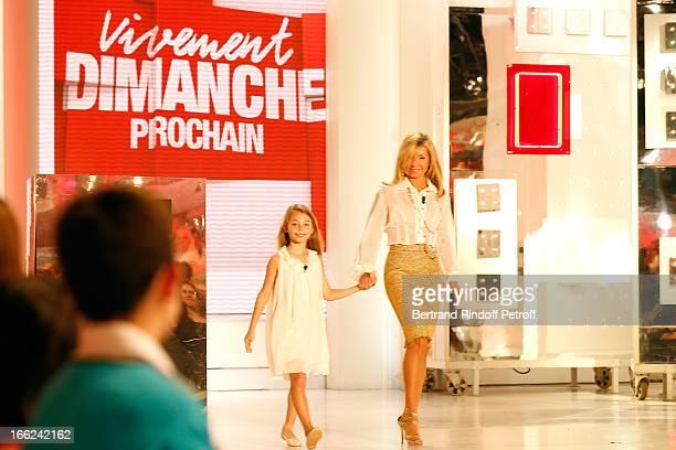 Natty Belmondo and her daughter Stella attend 'Vivement Dimanche' French TV Show for the 80th anniversary of JeanPaul Belmondo at Pavillon Gabriel on...