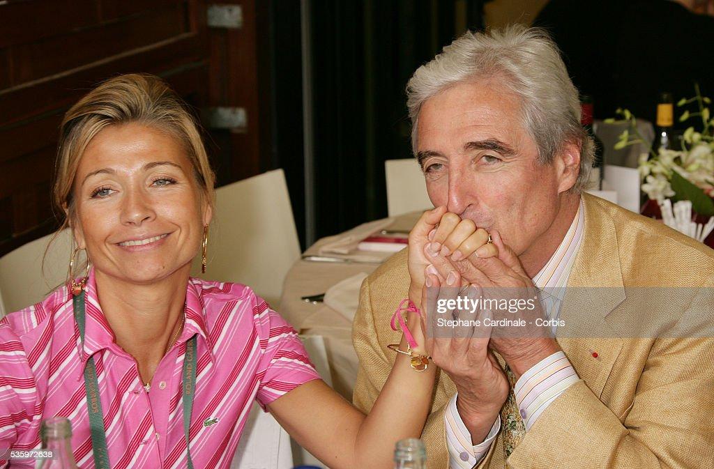 Natty Belmondo and Jean-Loup Dabadie visit Roland Garros village during the 2005 French Open tennis.