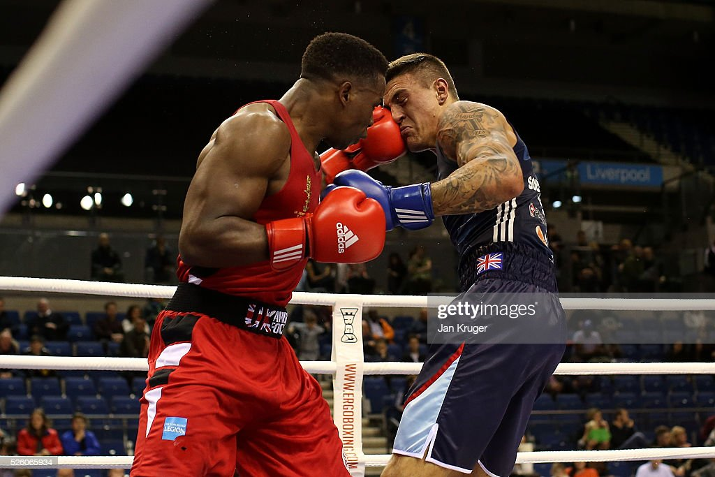 Natty Ngwenya (red) in action against Michael Webster in their 91kg quarter final fight during day one of the Boxing Elite National Championships at Echo Arena on April 29, 2016 in Liverpool, England.