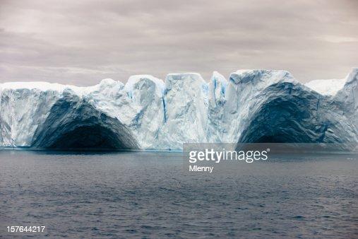 Natural Arch in Tabular Iceberg Greenland Arctic Ocean