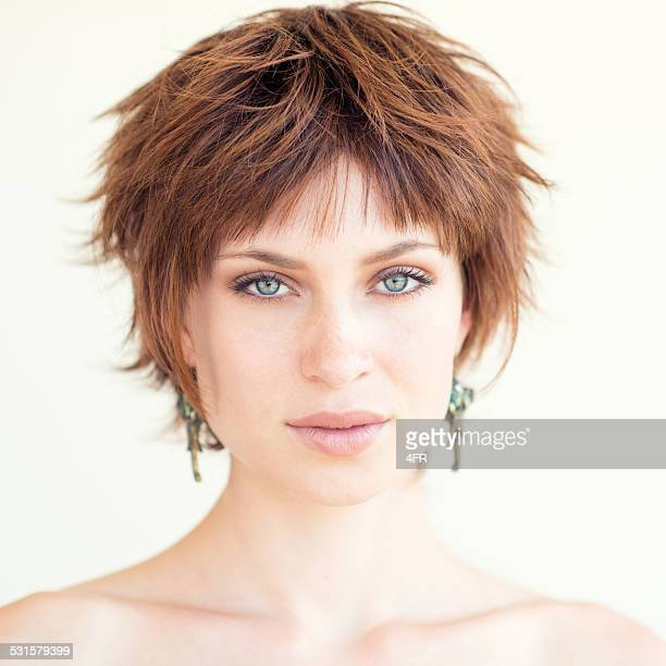 Natural Beautiful Portrait, Red Hair Woman
