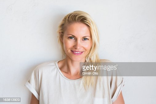 Natural beauty portrait of blonde woman smiling