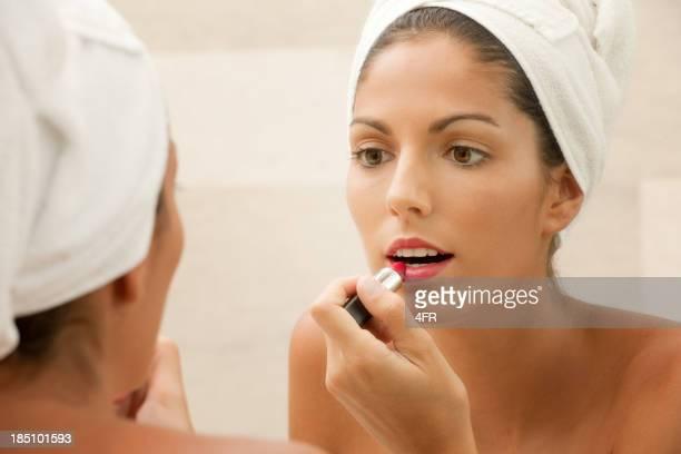 Beauté naturelle de mettre le rouge à lèvres maquillage, (XXXL