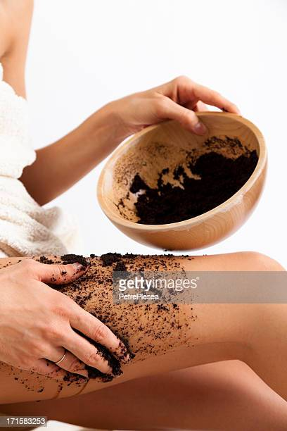 Natural body care. Cellulite massage with coffee scrub.