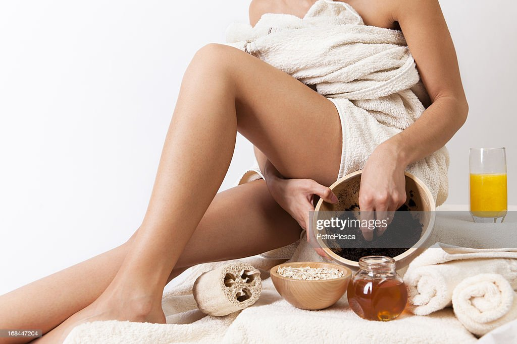 Natural body care with coffee scrub, cereals, honey.