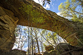 The geological formation Natural Bridge stone arch in the Appalachian Mountains of southeastern Kentucky. Located in Natural Bridge State Park, visitors can take a Skylift to the bridge. The park also