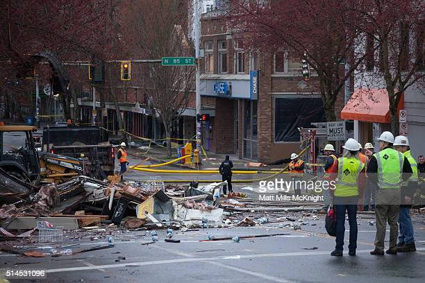 A natural gas explosion destroyed businesses on Greenwood Avenue during the early morning hours on March 9 2015 in Seattle Washington Nine...