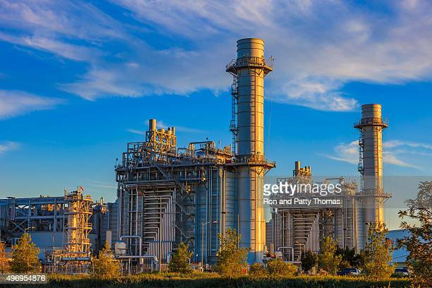 Natural gas fired turbine power plant,fall,field,CA