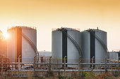 Natural Gas storage tanks and oil tank in industrial plant
