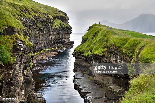 Natural harbour at Gjogv village of Eysturoy Island in Faeroe Islands