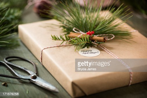 Natural Holiday Wrapped Box with Pine Horizontal