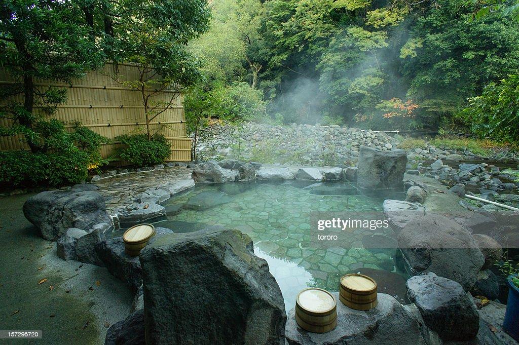 Natural hot spring bath hakone japan stock photo getty for Best bath idaho