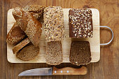 Natural organic bread made from whole wheat flour with the seeds
