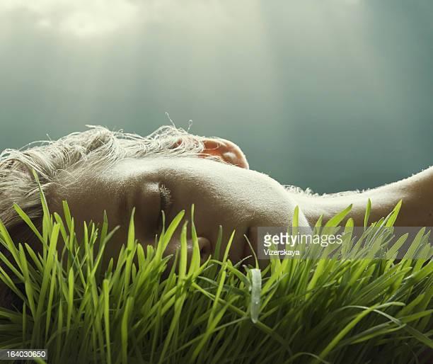 portrait de gazon naturel luxuriant