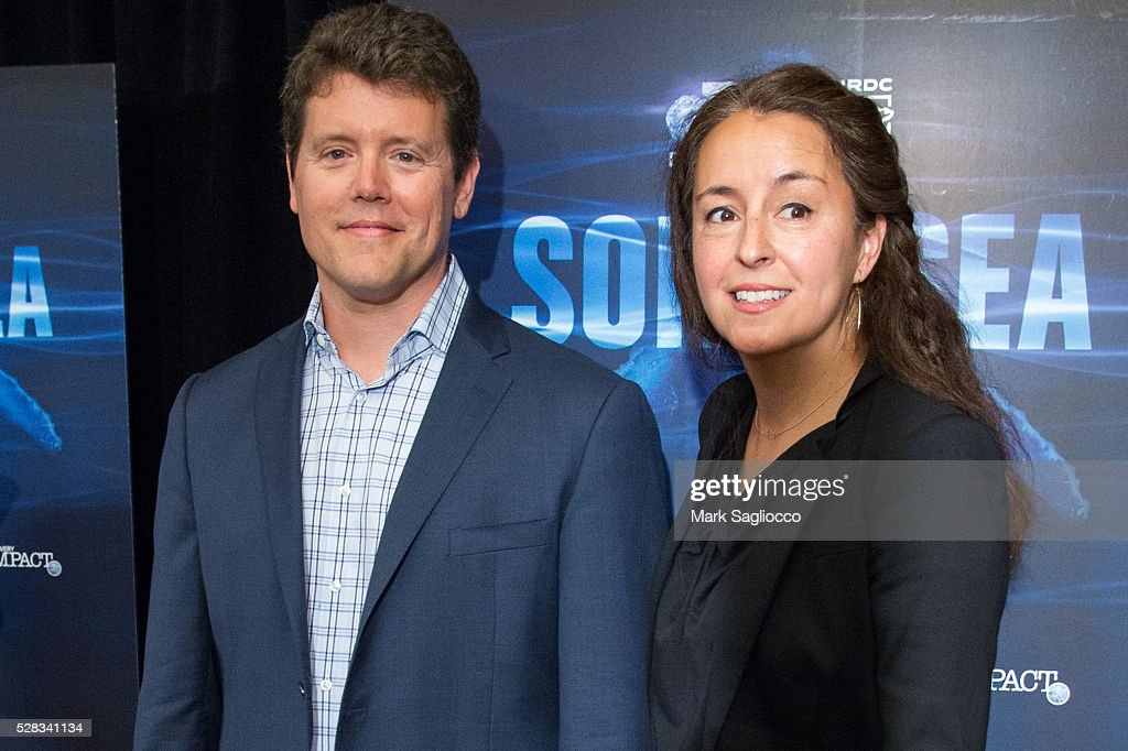Natural Resources Defense Council Co-Directors Daniel Hinerfeld (L) and Michelle Dougherty attend the 'Sonic Sea' New York screening at the Crosby Hotel on May 4, 2016 in New York City.