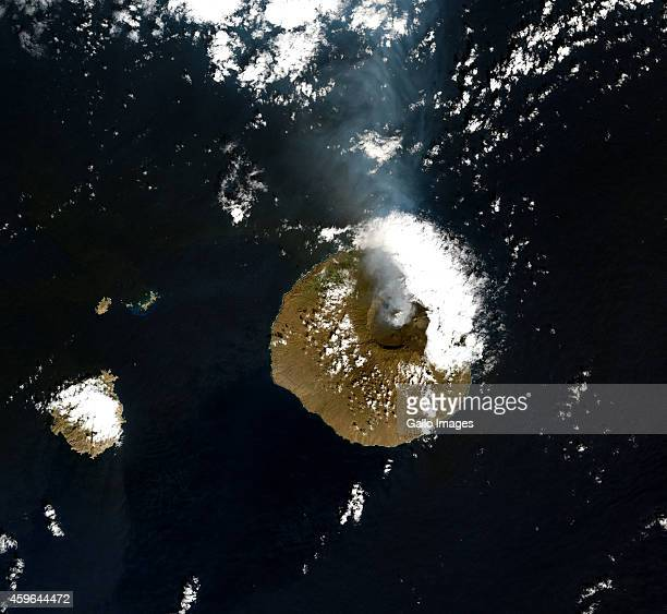 A Natural satellite view of Pico do Fogo volcano on November 24 2014 in Fogo Cape Verde Pico do Fogo volcano erupted on 23 November 2014