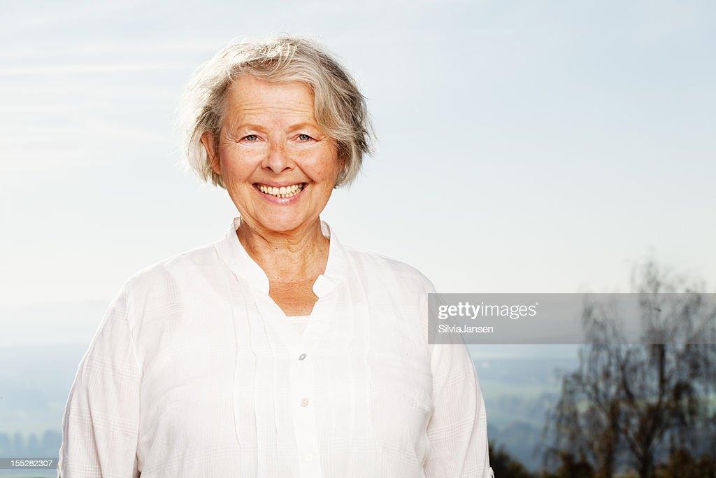 natural senior woman happiness
