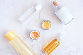 Natural skincare beauty products from above