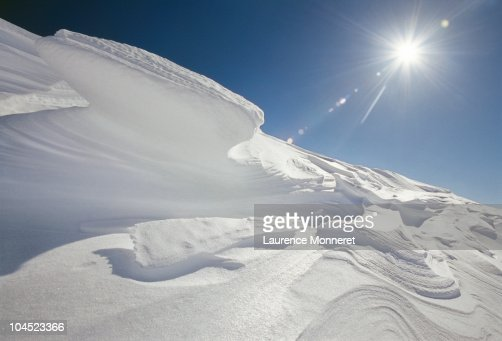Natural snow sculptures in Vallee Blanche : Stock Photo
